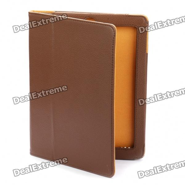 Protective Litchi Texture PU Leather Case for   Ipad 2 - Coffee