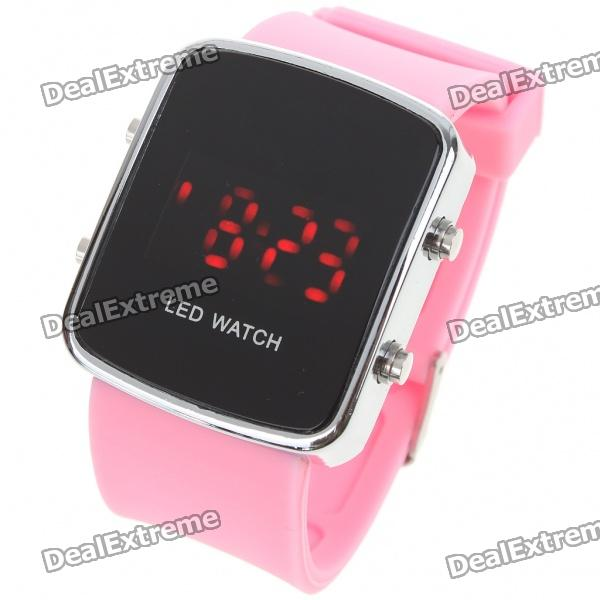 Stylish Digital Red LED Wrist Watch with Date Display - Pink (1 x CR2016)
