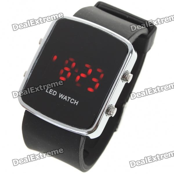 Stylish Digital Red LED Wrist Watch with Date Display - Black (1 x CR2016)