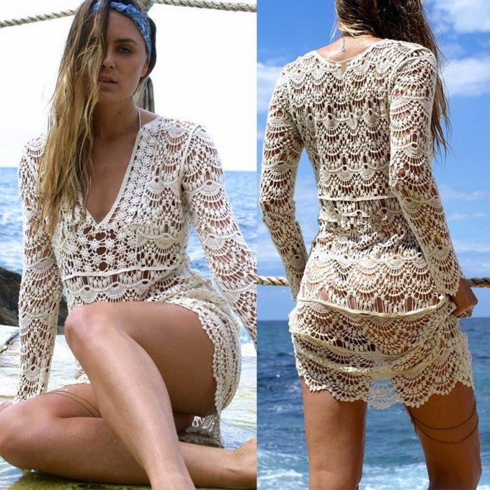 de2e426395 Sexy Lace Crochet Hollow-Out Long Sleeve Beach Bikini Blouse, Pullover Cover -Up Top For Swimsuit Swimwear White/One Size - Free shipping - DealExtreme