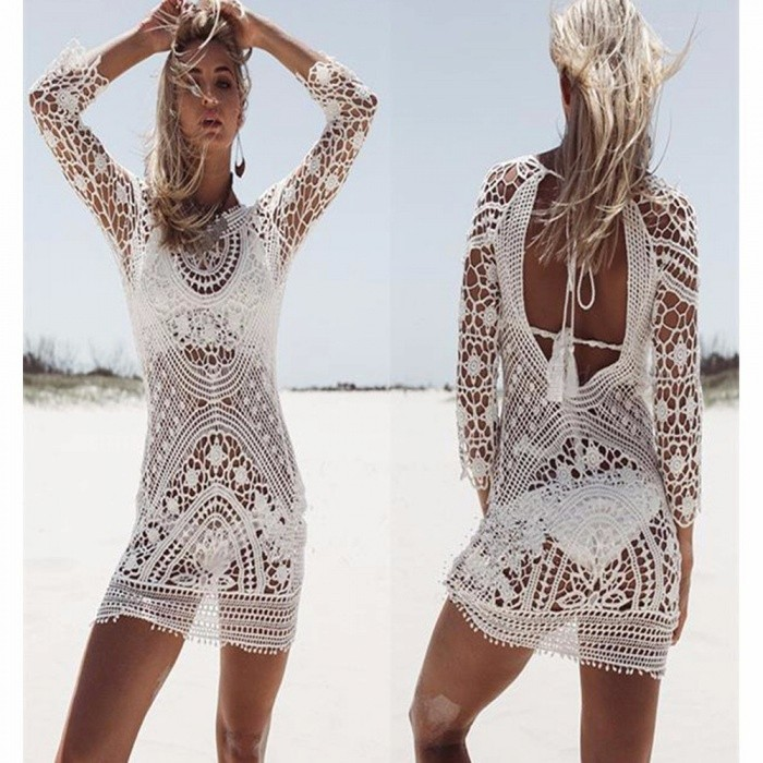 93221d83e6 Sexy Lace Crochet Hollow-Out Backless Beach Bikini Blouse, Pullover Cover-Up  Top For Swimsuit Swimwear White - Free shipping - DealExtreme