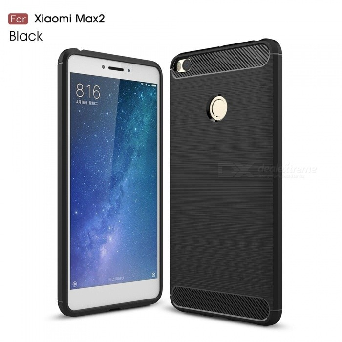 ZHAOYAO Carbon Fiber Drawing Soft Rubber Protective Cover Case for Xiaomi Mi Max 2 - Black