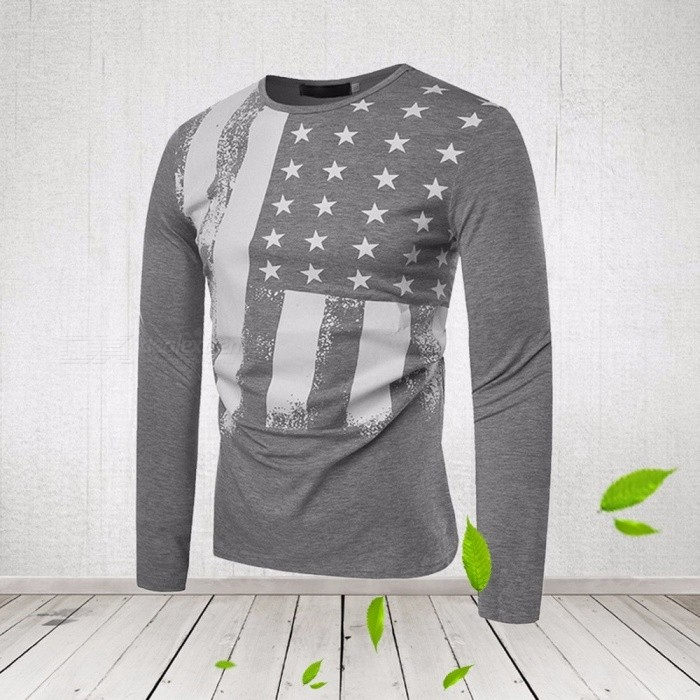 separation shoes 5e041 3bd45 2018 Autumn Fashion Flag Jack Men s T Shirts Long Sleeve O-neck Cotton Tops  Tees Swag Funny T Shirt For Men Gray M - Free shipping - DealExtreme