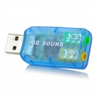 Virtual 5.1 Channel USB Sound Card Adapter - Blue