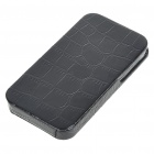 Crocodile Skin Pattern Hard PU Leather Case Cover for iPhone 4 - Black