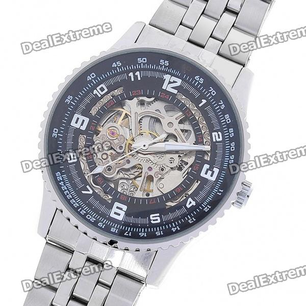 Wilon All-Steel Self-Winding Mechanical Wristwatch - Black + Silver