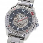 Designer's All-Steel Self-Winding Mechanical Wristwatch - Black + Silver