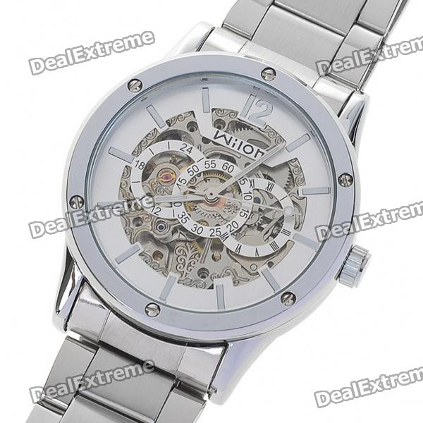 Wilon All-Steel Self-Winding Mechanical Wristwatch - Silver + White