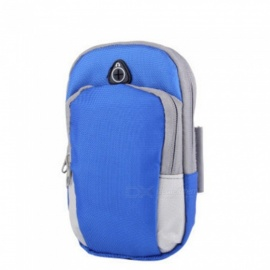 Outdoor Running Cycling Fitness Armband Arm Bag For 5.5inch Mobile Phone Fashion Nylon Zipper Arm Pouch Blue