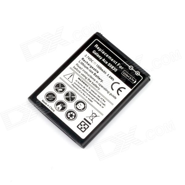 3.7V 1500mAh Rechargeable Battery for Samsung Galaxy ACE S5830 - Black