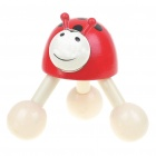 Cute Cartoon Ladybug Wooden Ball Massager - Red