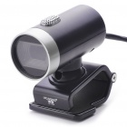 300K Pixel CMOS PC USB 2.0 Webcam w/ Microphone & Clip - Black + Silver (100CM-Cable)