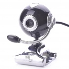 300K Pixel CMOS PC USB 2.0 Webcam w/ Microphone & Clip - Black + Silver (110CM-Cable)