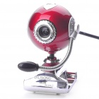 300K Pixel CMOS PC USB 2.0 Webcam w/ Microphone & Clip - Red + Silver (110CM-Cable)