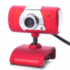 300K Pixel CMOS PC USB 2.0 Webcam with LED White Light & Clip - Red + Silver (120CM-Cable)