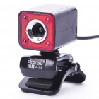 300K Pixel CMOS PC USB 2.0 Webcam with Clip - Red + Black (110CM-Cable)