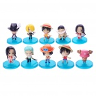 Cute One Piece Cartoon Figures Toys with Base (10-Piece Set)