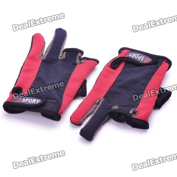 Professional Two Fingers Fishing Anti-Slip Gloves - Red + Black (Pair)