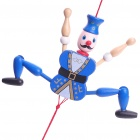 Vintage Wooden Mechanical Marionette Puppet Toys - Blue