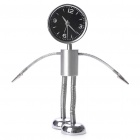 Stainless Steel Robot Alarm Clock with Clamps (1 x AA)