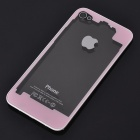 Replacement Electroplate Tempered Glass Battery Back Cover Case for iPhone 4 - Pink