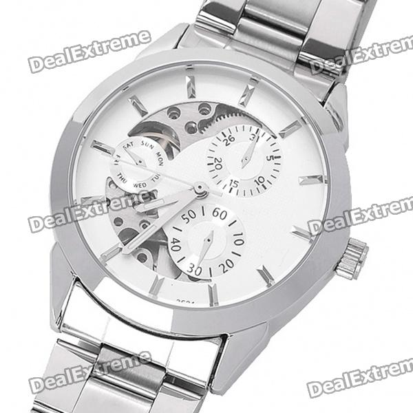 DayBird Auto Mechanical Steel Wrist Watch with Week Display