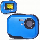 Waterproof 3.0MP CMOS Compact Digital Camera w/ 8X Digital Zoom/TF Slot - Blue (2xAAA/1.8