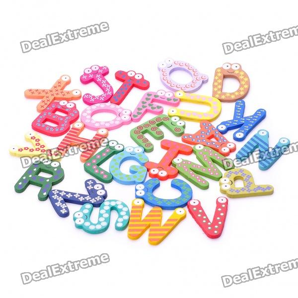 Colorful A-Z 26 Alphabet Letter Wooden Fridge Magnet Toy