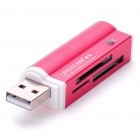 USB 2.0 Multi-in-One Mini SD/MMC/M2/MS/TF/SDHC Card Reader - Deep Pink (Max 32G)