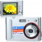 "DC-E40 7.0MP CMOS Compact Digital Video Camera with 8X Digital Zoom/USB/SD - Silver (2.7"" TFT LCD)"