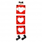 Cute Bear 3-Picture Wooden Hanging Photo Frame - Red (8*7cm)