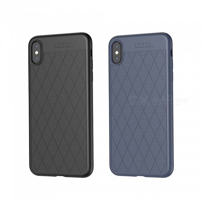 buy online cec40 dfdc2 HOCO Rhombus Pattern Holes Protective Soft TPU Back Cover Phone Case For  IPHONE IPHONE XS Plus / 9 / XS / X Blue/iPhone 9 6.1