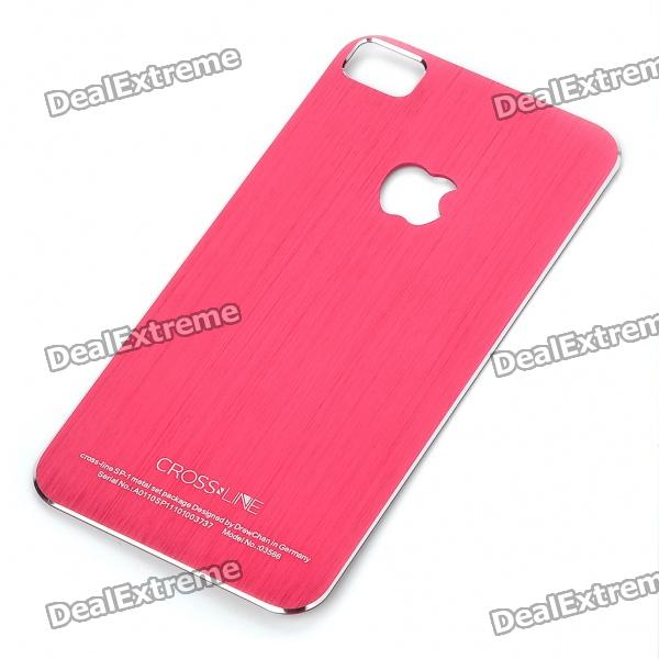 Stylish Aluminum Alloy Back Sticker Case for iPhone 4 - Red