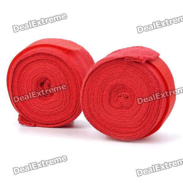Taekwondo Adhesive Sports Bandage/Hand Wraps - Red (Pair/4M-Length)