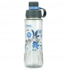 Flower Pattern Traveling Sports Water Bottle Cup with Filter - Transparent Gray (600ml)
