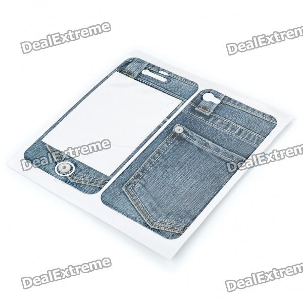 Fashion Protective Jeans Style Skin Stickers for Iphone 4 protective pc tpu bumper frame case for sony xperia z1 l39h dark blue transparent