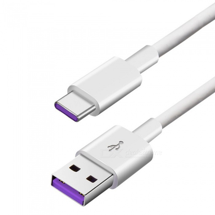USB Type-C Charging Data Sync Cable Huawei Xiaomi Universal 5A Fast Charging Cable Android Type-C Device White/1m