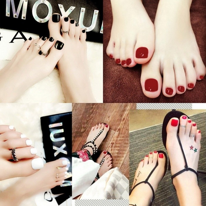 24pcs Set Pretty Summer Toes False Nails Solid Color Full Cover Foot Artificial Fake For Daily Wear Burgundy