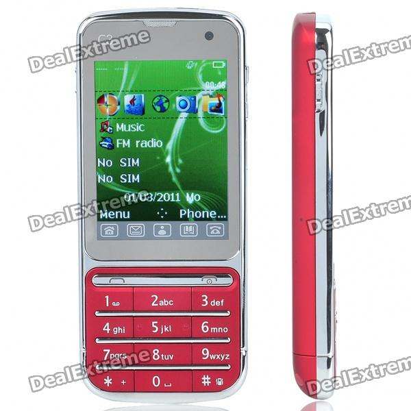 """C3 2.4"""" Touch Screen Dual SIM Dual Network Standby Quadband GSM TV Cell Phone w/ JAVA - Red"""