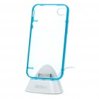 USB Sync & Charging Docking Station Cradle + Glow-in-the-Dark Protective Case for iPhone 4 - Blue