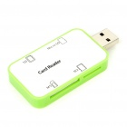 USB 2.0 SD/Micro SD/MS/M2 Card Reader - White + Green