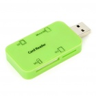 USB 2.0 SD/Micro SD/MS/M2 Card Reader - Green