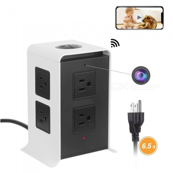 Wireless Spy Hidden Charger Camera,HD 1080P Mini WiFi Nanny Cam Smart 8-Outlet 4-USB Output Power Strip Black