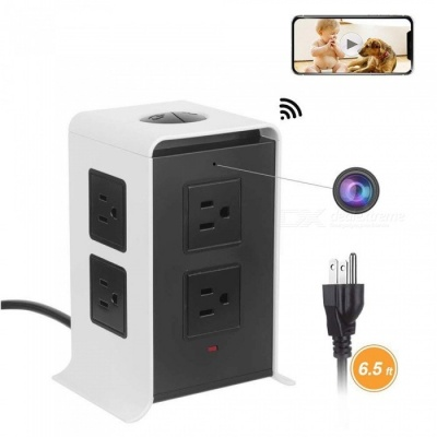 Wireless Spy Hidden Charger Camera,HD 1080P Mini WiFi Nanny Cam With Smart 8-Outlet With 4-USB Output Power Strip Black