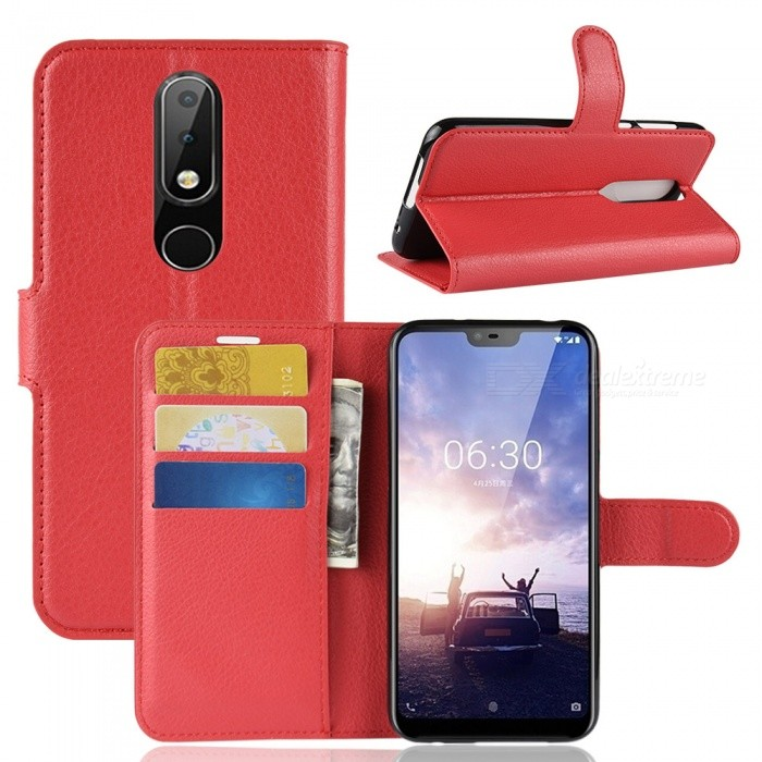 online store 86f19 7500f Naxtop Phone Wallet Flip Leather Holder Cover Case for Nokia 6.1 Plus/Nokia  X6 - Red