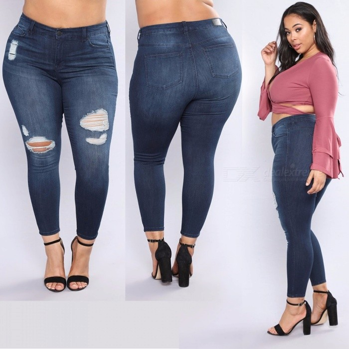 95d28e3548b New Large Size Trouser Zipper Cotton Slim Thin Feet Jeans Handmade Hole  Burrs Tight Elastic Trousers For Women Dark Blue XXL - Free shipping -  DealExtreme