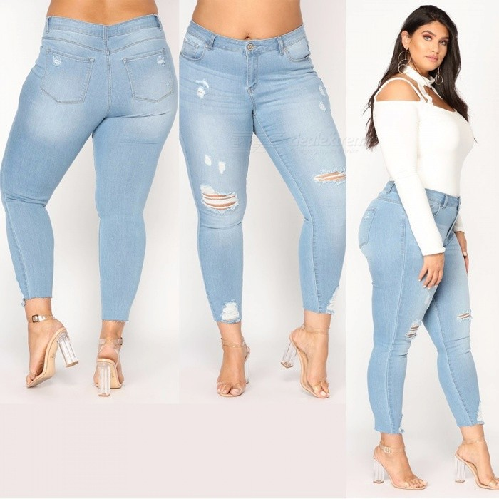1a18be18370 New Women s Large Size Trousers Zipper Cotton Slim Thin Feet Jeans Handmade  Hole Burrs Tight Elastic Pants Light Blue XXL - Free shipping - DealExtreme