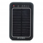 Solar Powered Rechargeable 2600mAh Portable Power Pack with Charging Adapters + Flashlight - Black