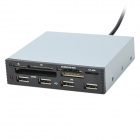 "3.5"" Internal 4-Port USB 2.0 Hub + MS/M2/XD/TF/CF/SD Card Reader - Black"