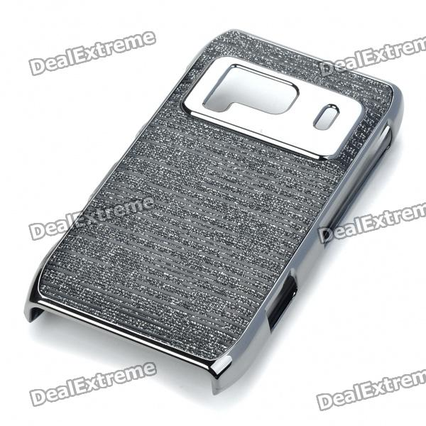 Protective Shining PC Plastic + Aluminum Back Case for Nokia N8 - Black